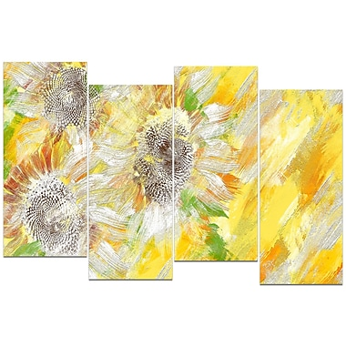 Designart Yellow and Green Flower Art Canvas Art Print, (PT3418-271)