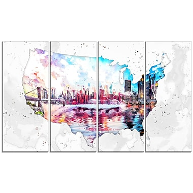 Designart City Sunset on the Map 4-Panel Canvas Art Print, (PT2833-271)