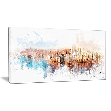 Designart Sunrise on the River Cityscape Canvas Art Print, 40Wx20H Inches, (PT3303-40-20)
