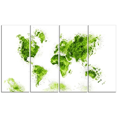 Designart Green Map Canvas Art Print, (PT2708-2-271)