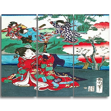 Designart Toyohara Kunichika, The Tale of Gejni Large Asian Canvas Art, (PT4979-3P)