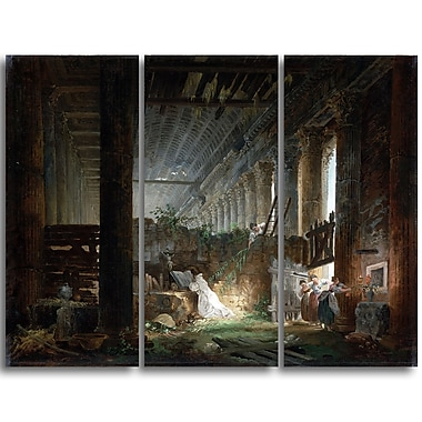Designart Hubert Robert, Praying in the Ruins of a Roman Temple Canvas Art Print, 3 Panels, (PT4506-3P)