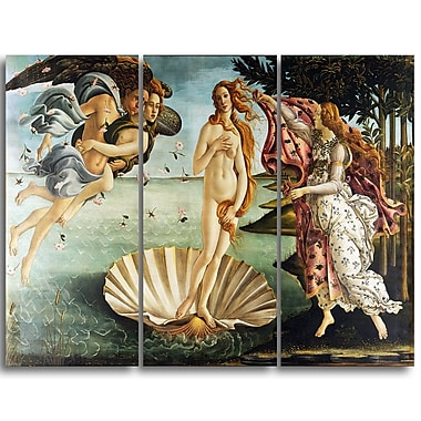 Designart Sandro Botticelli, The Birth of Venus Canvas Art Print, (PT4918-3P)