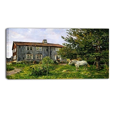 Designart Gerhard Munthe, At the Farm, Ulvin Large Landscape Canvas Wall Art, (PT4437-32-16)