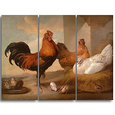 Designart Francis Barlow, Domestic Cock, Hens, and Chicks Canvas Art Print, (PT4385-3P)