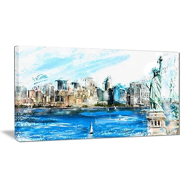 Designart Ellis Island Landscape Large Americana Canvas Art Print, (PT2806-32-16)