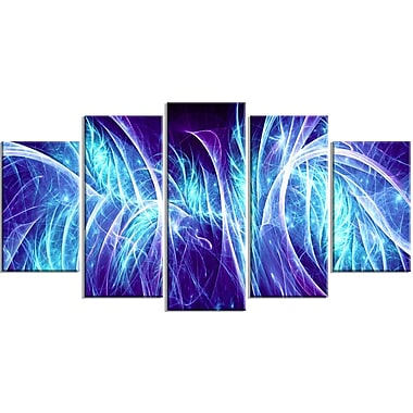 Designart Blue Electricity 5-Panel Modern Canvas Art Print, (PT3084-373)