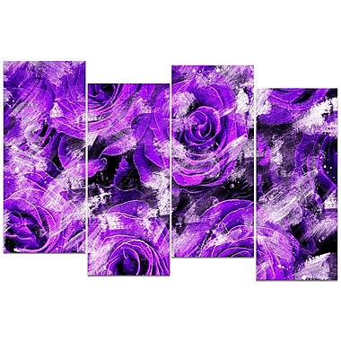 Designart Purple Rose Garden 4-Panel Canvas Art Print, (PT3430-3-271)