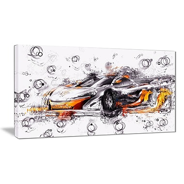 Designart Black and Orange Exotic Car Gallery-Wrapped Canvas, (PT2628-32-16)