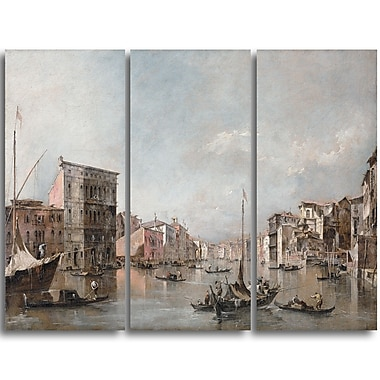 Designart Canaletto, The Grand Canal in Venice Canvas Art Print, (PT4200-3P)
