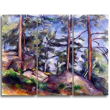 Designart – Paul Cezanne, Pins et rochers, imprimé sur toile, 3 panneaux (PT4768-3P)