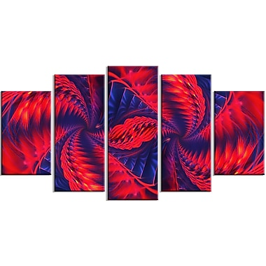 Designart Red and Purple Pinwheels 5-Panel Modern Canvas Art Print, (PT3076-373)