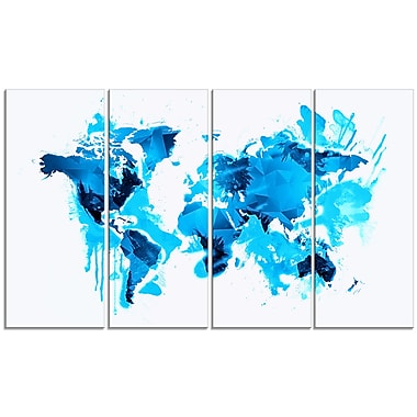 Designart Blue Ice Map Canvas Art Print, (PT2717-271)