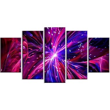 Designart Pink and Purple Dreams Come True 5-Panel Contemporary Canvas Art Print, (PT3068-373)