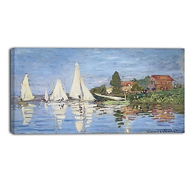 Designart Claude Monet, Regattas at Argenteuil Canvas Art Print, (PT4231-32-16)