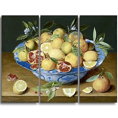 Designart Jacob van Hulsdonck, Still Life with Lemons Canvas Art Print, 4 Panels, (PT4525-3P)