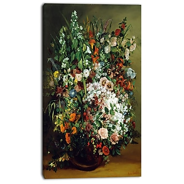 Designart Gustave Courbet, Bouquet of Flowers Canvas Art Print, 3 Panels, (PT4462-16-32)