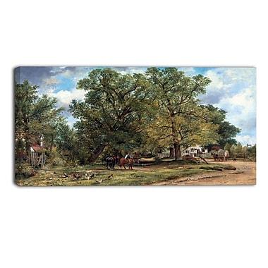 Designart Frederick W Watts, Landscape with Cottages Landscape Canvas Art Print, (PT4403-32-16)