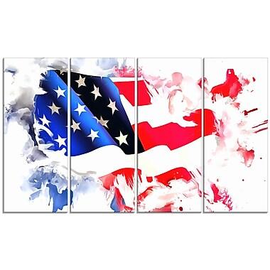 Designart – Imprimé sur toile, carte de l'Amérique colorée (PT2826-271)