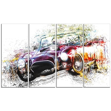 Designart Colourful Abstract Convertible Car, 4 Piece Gallery-Wrapped Canvas, (PT2654-271)