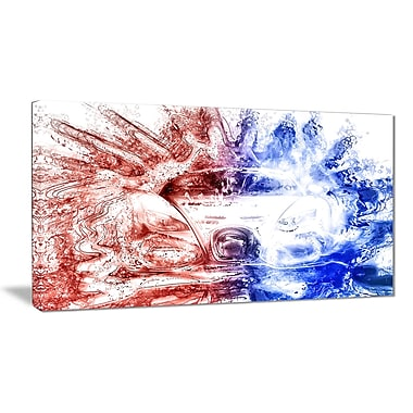 Designart Red and Blue Car Art Small Gallery Wrapped Canvas, (PT2607-32x16)