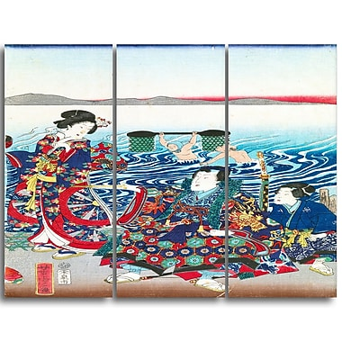 Designart Utagawa Yoshitora, Gejni Crossing the Oi River Large Asian Canvas Art, (PT4985-3P)
