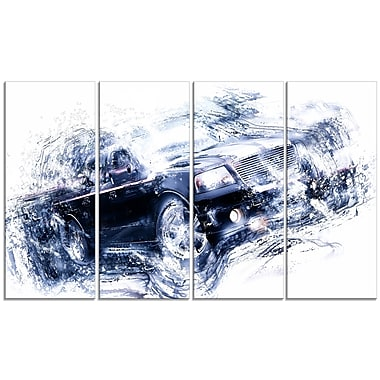 Designart Black Luxury Car, 4 Piece Gallery-Wrapped Canvas, (PT2637-271)