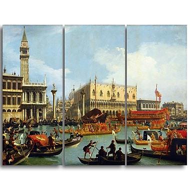 Designart Canaletto, Bucentaurs Return to the Pier Canvas Art Print, (PT4206-3P)