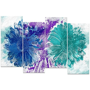 Designart Blue and Green SunFlowers 4-Panel Canvas Art Print, (PT3401-3-271)