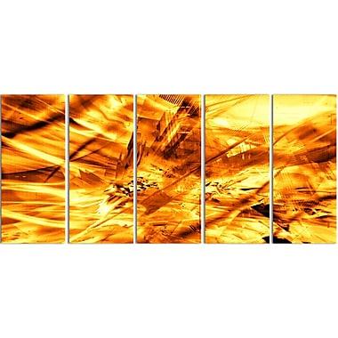 Designart Yellow Sandstorm 5-Panel Modern Canvas Art Print, (PT3080-401)