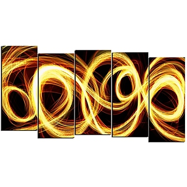 Designart Gold Shock 5-Panel Abstract Canvas Art Print, (PT3016-1084)