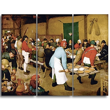 Designart Pieter Bruegel, Peasant Wedding Canvas Art Print, (PT4866-3P)