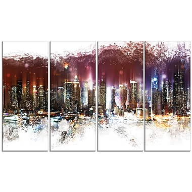 Designart Nightlife Cityscape Urban Canvas Artwork, (PT3317-271)