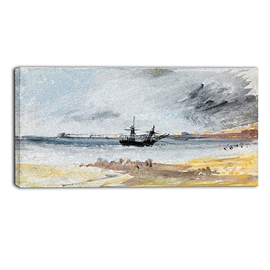 Designart JMW Turner, Ship Aground Brighton Canvas Art Print, (PT4606-32-16)