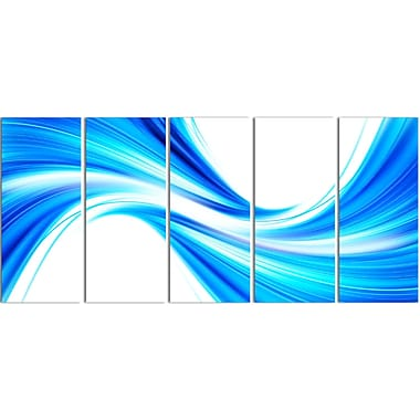 Designart Peaceful Blue Flowing Through 5-Panel Modern Canvas Art Print, (PT3072-401)