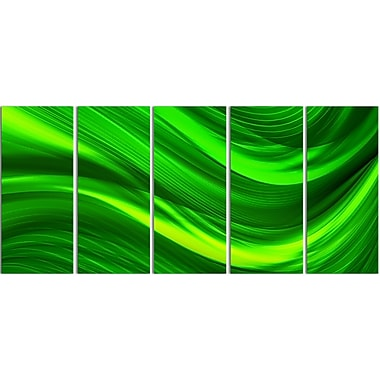 Designart Green Laser 5-Panel Modern Canvas Art Print, (PT3038-401)