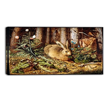 Designart Hans Hoffmann, German, A Hare in the Forest Lansdcape Canvas Artwork, (PT4473-32-16)