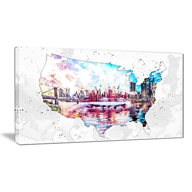 Designart City Sunset on the Map Canvas Art Print, (PT2833-32-16)