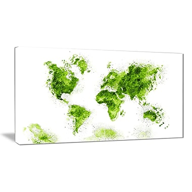 Designart Green Map Canvas Art Print, (PT2708-2-32-16)