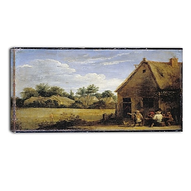 Designart David Teniers, Cottage with Peasants Playing Cards Canvas Art Print, (PT4931-32-16)