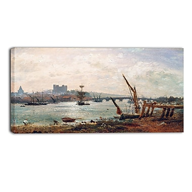 Designart Frederick Nash, Rochester Cathedral and Castle Canvas Art Print, (PT4397-32-16)