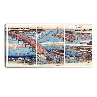 Designart Utagawa Hiroshige, Woodcut Large Asian Canvas Art, (PT4981-32-16)