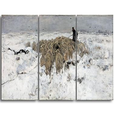 Designart – Troupeau de moutons avec berger dans la neige par Anton Mauve, toile d'illustrations (PT4150-3P)