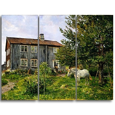 Designart Gerhard Munthe, At the Farm, Ulvin Large Landscape Canvas Wall Art, (PT4437-3P)