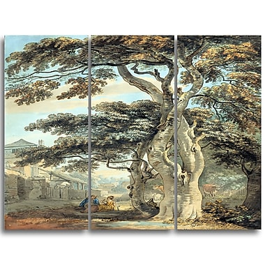 Designart Paul Sandby, Couple in a Farmyard Canvas Art Print, 3 Panels, (PT4809-3P)
