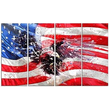 Designart American Eagle and Flag Large Americana Canvas Art Print, (PT2807-271)
