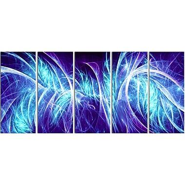 Designart Blue Electricity 5-Panel Modern Canvas Art Print, (PT3084-401)