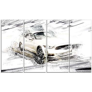 Designart Super Charged White Muscle Car, 4 Piece Gallery-Wrapped Canvas, (PT2629-271)