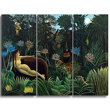 Designart – Henri Rousseau, Le Rêve imprimée sur toile, 3 panneaux (PT4496-3P)
