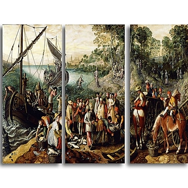 Designart Joachim Beuckelaer, The Miraculous Draught of Fishes Canvas Art Print, (PT4612-3P)